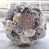 KUKI SHOP Handmade Romantic Silk Roses Rhinestone Pearls Decor Satin Ribbon Wedding Bouquet Bridal Holding Bouquet Bridesmaid Bouqeut Wedding Decoration Flowers (Grey)