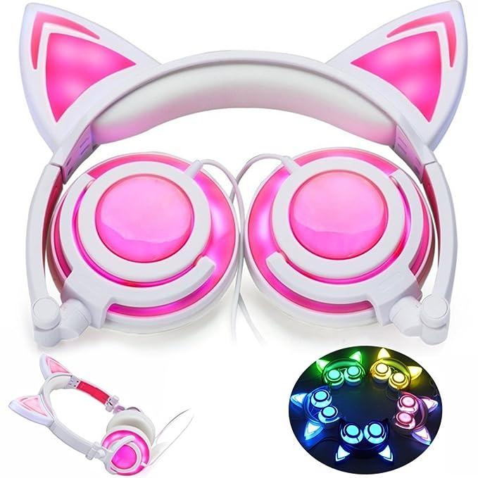 Amazon Com Efanr Cat Ear Kids Headphones Led Light Up Foldable