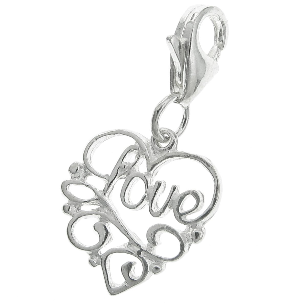 925 Sterling Silver Heart Love Dangle Clasp European Lobster Clip On Charm