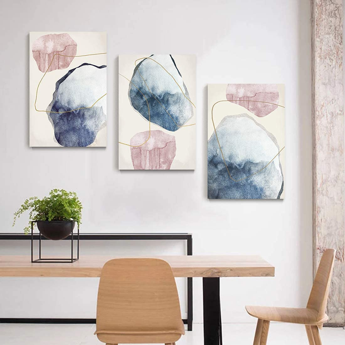 Loomarte Large Abstract Wall Art Paintings Pink Blue Marble Wall Decor Geometric Graphic Canvas Print Modern Artwork for Living Room Bedroom Bathroom Home Office Wall Decor 3 Pcs 16