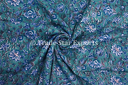 - 3 Yard Indian Hand Block Print Fabric, Natural Dye Fabric for Sewing for Kids, 100% Cotton Voile Running Floral Print Fabric By the Yard Width: 44 Inches
