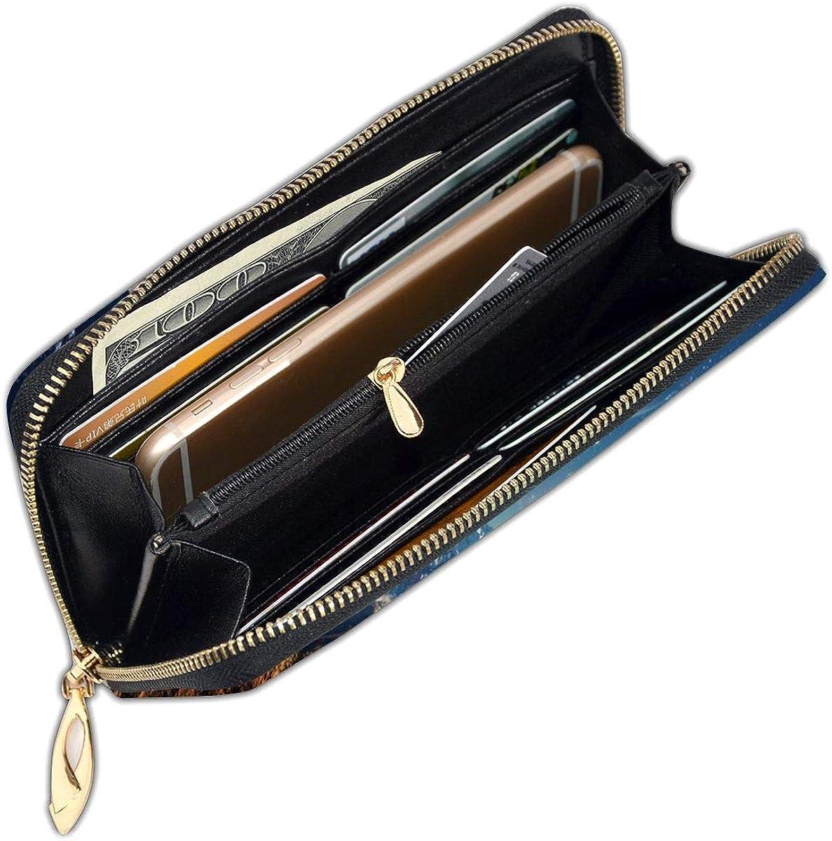 Women Genuine Leather Wallets Pyramids Of Egypt Credit Card Holder Organizer Ladies Purse Zipper Around Clutch Cash Pocket