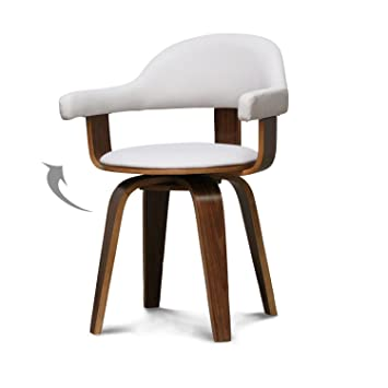 Intérieur Discount Blanc Pivotante Simili Bois Chaise Design Cuir Kl1JcF