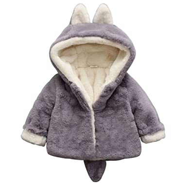 dad6e45f81bd Amazon.com  Baby Girls Warm Jackets Thick Coats Children s Hooded ...