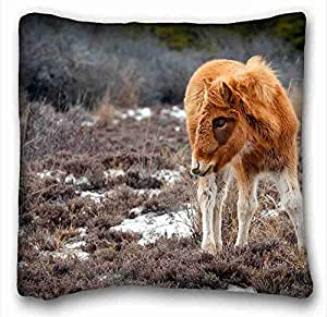 Soft Pillow Case Cover Animal Custom Cotton & Polyester Soft Rectangle Pillow Case Cover 16x16 inches (One Side) suitable for X-Long Twin-bed