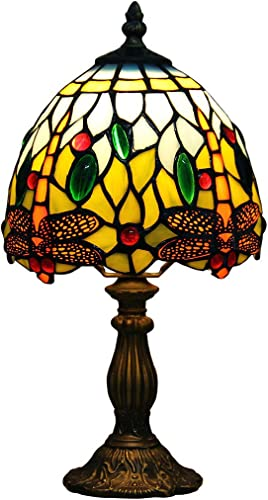 Makenier Vintage Tiffany Style Stained Glass Bedroom Bedside Corner Table Desk Blue Dragonfly Small Lamp