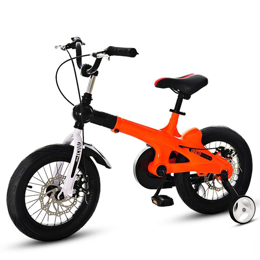 YANGFEI ベビーカー 16インチのキッズバイク、男の子と女の子のためのトレーニングホイール付きキッズ自転車 ショックアブソーバタイヤ  Orange B07MKRY5K4