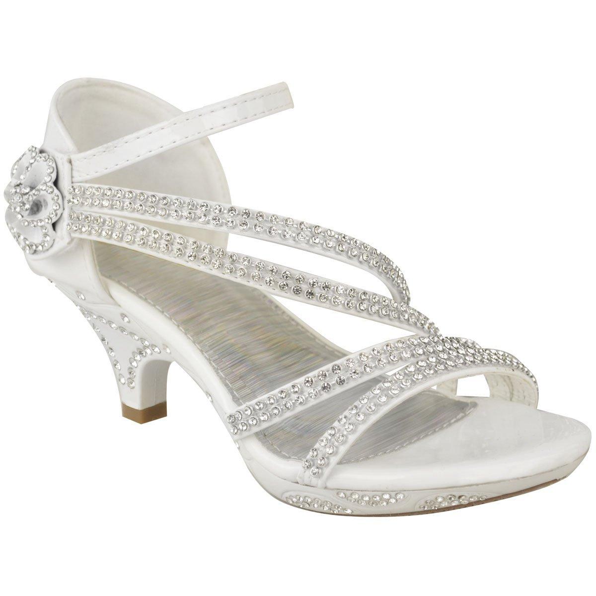 f82c2dd6871ef Fashion Thirsty Girls Kids Low Heel Wedding Diamante Sandals Bridesmaid  Party Shoes Size