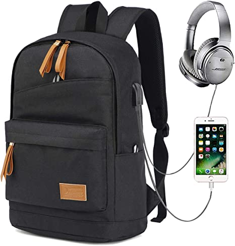 Brown Computer Bag Three-Piece Student Backpack Business Fashion Shoulder Portable Casual Travel Outdoor USB Charging//Headphone Hole Sports Backpack
