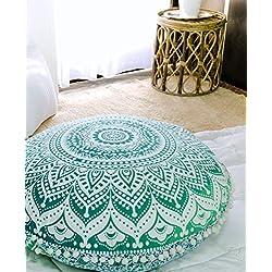 "Popular Handicrafts Large Ombre Mandala Round Hippie Floor Pillow Cover - Cushion Cover - Pouf Cover Bohemian Yoga Decor Floor Cushion Case - 32"" Green"