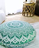 Popular Handicrafts Large Ombre Mandala Round Hippie Floor Pillow - Cushion - Pouf Cover Bohemian Yoga Decor Floor Cushion Case - 32' Green