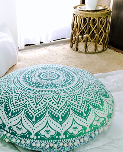 Popular Handicrafts Mandala Round Hippie Floor Pillow Cover (Green, 32