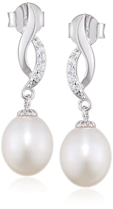 9ee4fd69c7545f Elements Silver E4091W Ladies' Pearl and Cubic Zirconia Twisted Sterling  Silver Earrings