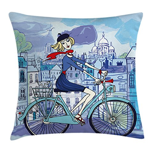 Ambesonne Paris Throw Pillow Cushion Cover, Young Woman with French Hat and Funny Cat on Bicycle in Paris Street Watercolor, Decorative Square Accent Pillow Case, 18 X 18 inches, - Paris Watercolor