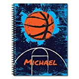 Slam Dunk Basketball Personalized Sports Spiral Notebook / Journal, 120 Wide Ruled or Sketch Pages, durable laminated cover, and wire-o spiral. 8.5x11 | 5.5x8.5 | Made in the USA