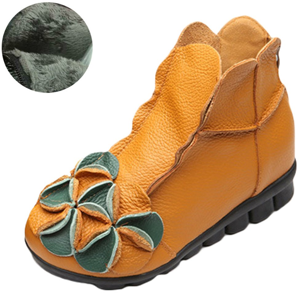 Mordenmiss Women's Round Topline with Unique Handmade Flower Leather Shoes 38 Fleece Yellow