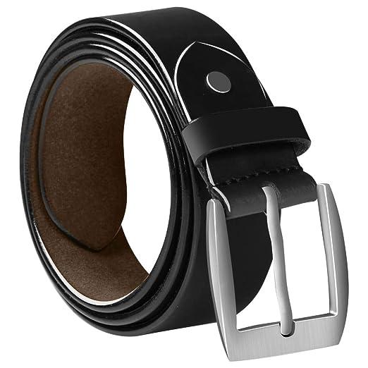 FESTNIGHT Cinturón de Cuero Cinturon Piel Negro de Hombre ...