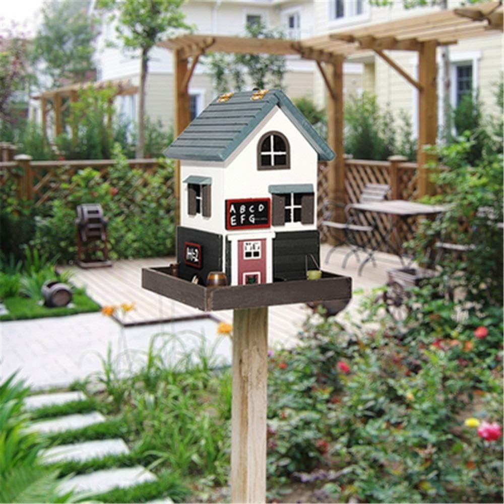 Birdhouse artesanal Alimentador de pájaros vertical al aire libre Patio inglés Jardín Cabañas Casa de pájaros for cabaña de pájaros pequeña Pajarera Decoración creativa Comedero de pájaros de madera a: Amazon.es: Hogar
