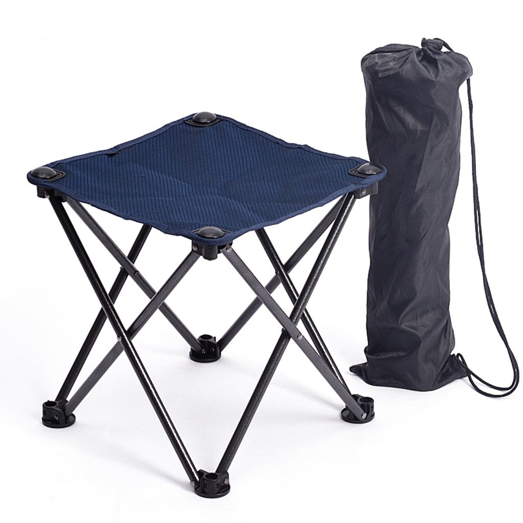 Klappstuhl Im Freien Mini Faltbarer Kampierender Stuhl-Leichter Fischen-Schemel Tragbarer Wandernder Strand-Reisesitz, Blau, Oxford-Stoff