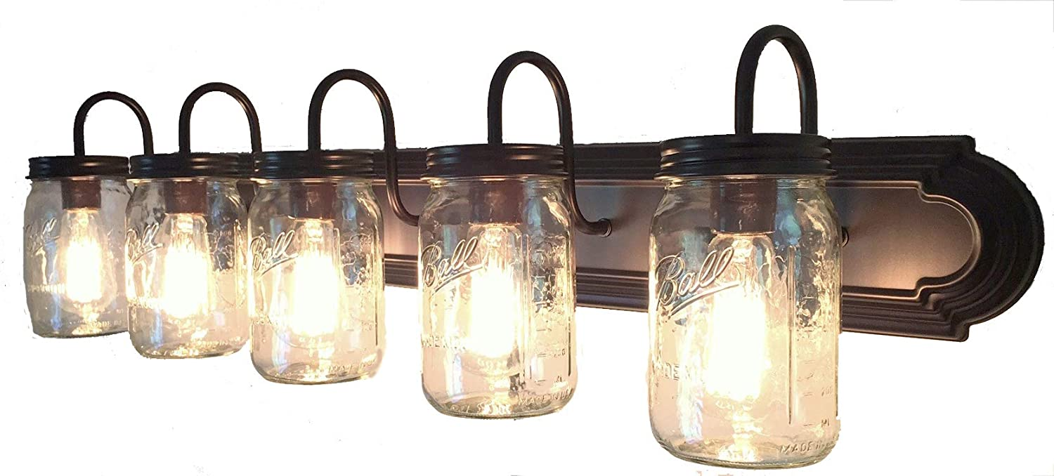 LAMP Goods Mason JAR Bathroom Vanity 5-Light Wide Mouth Jars