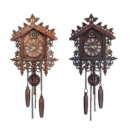 B Blesiya 2pcs Reloj de Pared de Cuco de Madera Antiguo con Péndulo Adorno para Sala