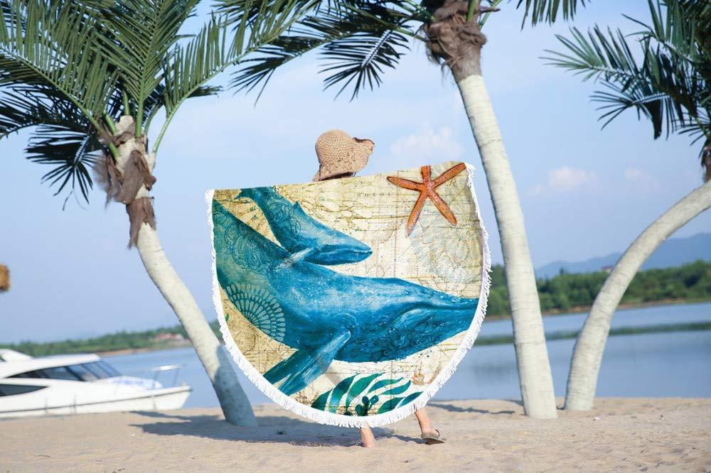 Fansu Toalla de Playa Redondo Vida Marina, Microfibra la Playa Tapiz de Pared Manta Toalla Yoga Acampar Picnic Mantel Decoración Viaje Esterilla Wall ...