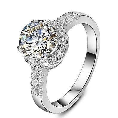 Plata de Ley 2 ct Halo nscd simular diamantes anillo de ...