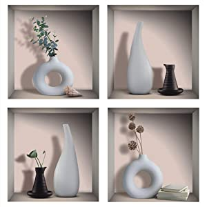 """TOARTi 3D Watercolor Vases Wall Sticker, White&Black Vases Decal for Living Room Dining Room Bedroom Decor, Creative DIY Botanical Wall Art Mural Decoration, Set of 4 (12""""x12"""")"""