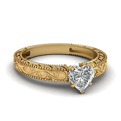 7a76aa7b5809 Heart Shape CZ Diamond Botanical Solitaire Engagement Ring 14k Yellow Gold  Plated (4)