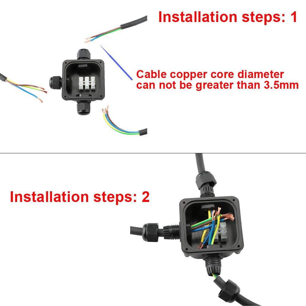 WPERSUVV 4 Pack Bo/îte de jonction /électrique ext/érieure imperm/éable fait en plastique 3 C/âble PG9 IP66 Connecteur /Étanche 3 Voies Connecteurs Bo/îtier /Électrique Ext/érieur /Ø 5.5mm-10.2mm