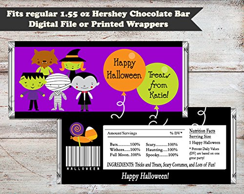 Spooky Costumes Halloween Personalized Candy Bar Wrapper, Set of 10 -