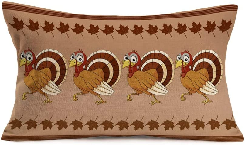 """Smilyard Happy Thanksgiving Theme Decorative Pillow Covers Animal Turkey with Autumn BrownMaple Leaf Throw Pillow CoversWaist Lumbar Cotton Linen Pillow Case for Couch 12""""x20""""(FGB 17)"""
