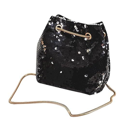 d5bd5c259953f Women Handbags,Han Shi Girl Fashion Shoulder Bag Bucket Bling Sequins  Bucket Bag (Black