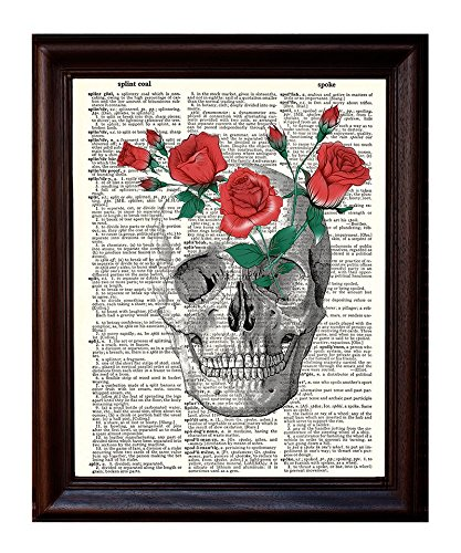 Dictionary Art Print - Red Roses in a Skull - Printed on Recycled Vintage Dictionary Paper - 8.5x11 - Mixed Media Poster on Vintage Dictionary Page
