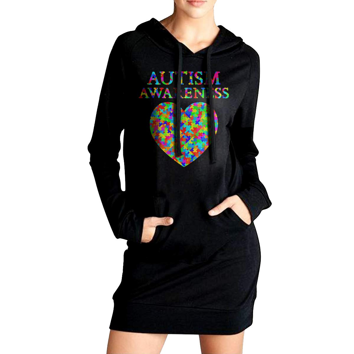 ADA/&KGH Womens Casual Fleece Long Hoodie Dress Autism Awareness Sweater with Pockets