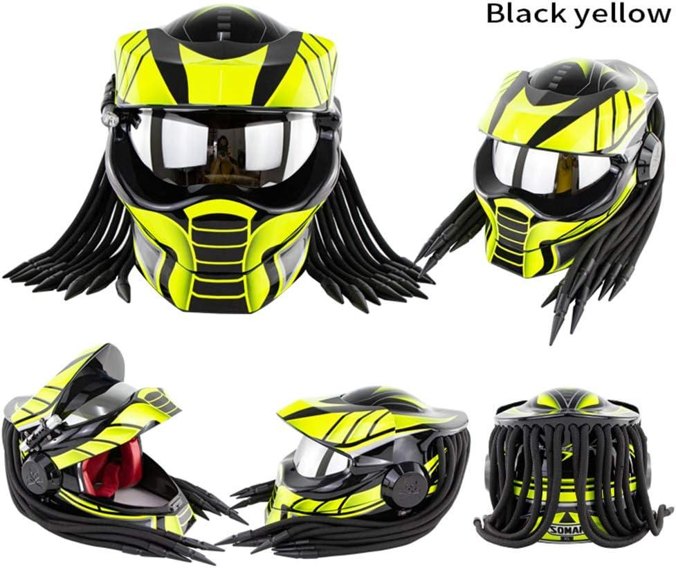 Unisexe Coquille ABS Couche Tampon EPS,Matte Black,M Braveking Casque Moto Casque Int/égral Predator avec des Lumi/ères LED Et des Lentilles Argent/ées