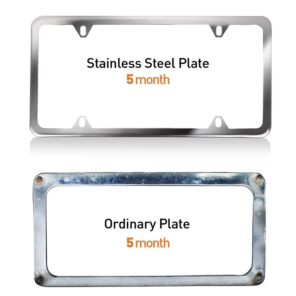 License Plate Frame with Chrome Screw Caps,Car Licenses Plate Covers,2Pcs 4 Holes Licenses Plates Frames Replacement fit for US Vehicles
