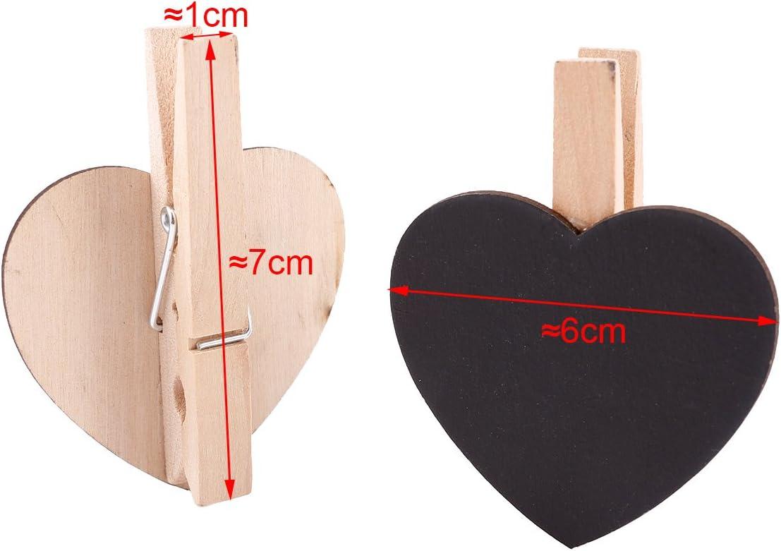Pack von 20pcs Mini Clip Holz-Klammer Herz mit Tischplatte Kreidetafel f/ür lassen Botschaft Erinnerungen zur Kenntnis