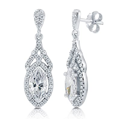 3efa0038456bc BERRICLE Rhodium Plated Sterling Silver Marquise Cut Cubic Zirconia CZ Art  Deco Halo Dangle Earrings