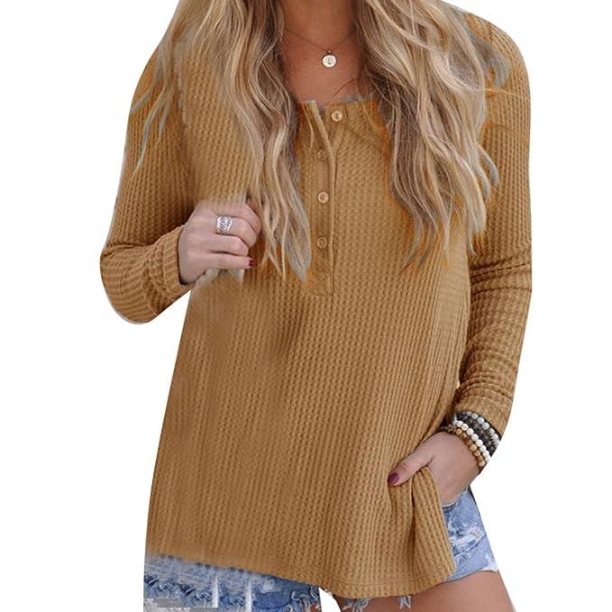 ... Lateral Camiseta Suelta Blusas de Cuello Redondo con Botón Top Casuales Camisas Elegente Super Suave Cómodo 4 Colores S-XL: Amazon.es: Ropa y accesorios