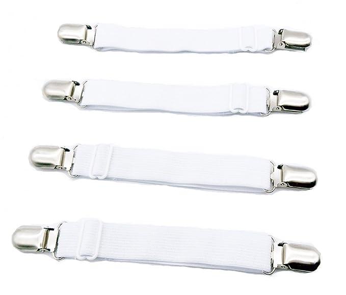Angelkiss Pack de 4 unidades, ajustable, elástico, tensor de cama, tensor de sábana bajera, soporte con pinzas metálicas para sábana y edredones finos: ...