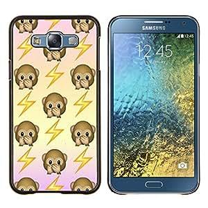 KLONGSHOP // Cubierta de piel con cierre a presión Shell trasero duro de goma Protección Caso - mono volver patrón sacudida eléctrica - Samsung Galaxy E7 E700 //