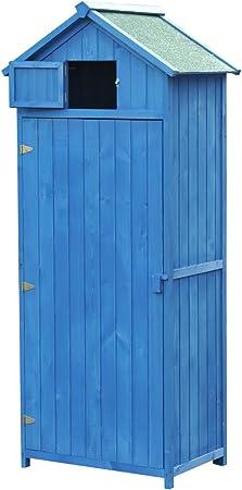 Outsunny Cobertizo de Madera para Jardín Tipo Caseta y Almacén para Herramientas de Jardinería 77x54,2x179cm (Azul): Amazon.es: Hogar