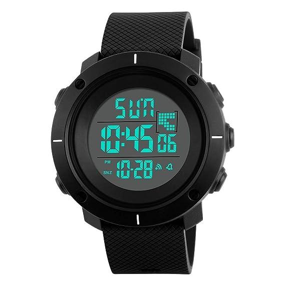 FeiWen Deportivo Relojes de Hombre Grande Plástico Bisel con Goma Correa Multifuncional Outdoor Militar 50M Impermeable LED Electrónica Digitales Reloj de ...