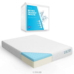 LUCID 10 Inch Gel Memory Foam Mattress, Queen