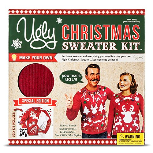 Men's Women's Ugly Christmas Sweater Kit New and Improved(Red,Small)]()