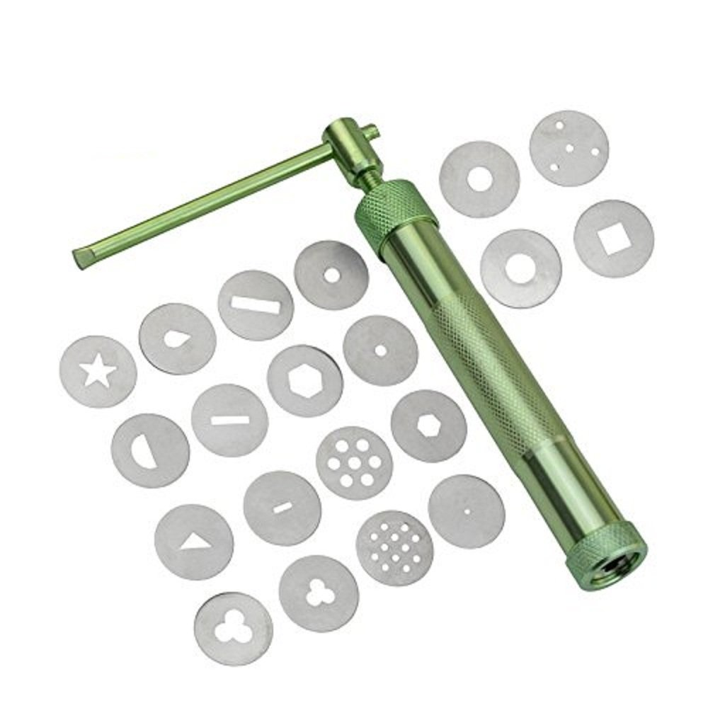 COMIART 20 Pcs Stainless Steel Green Crowded Mud Machine Polymer Clay Fimo Extruder Craft Gun Cake Fondant Sculpture Decorating Tool Set