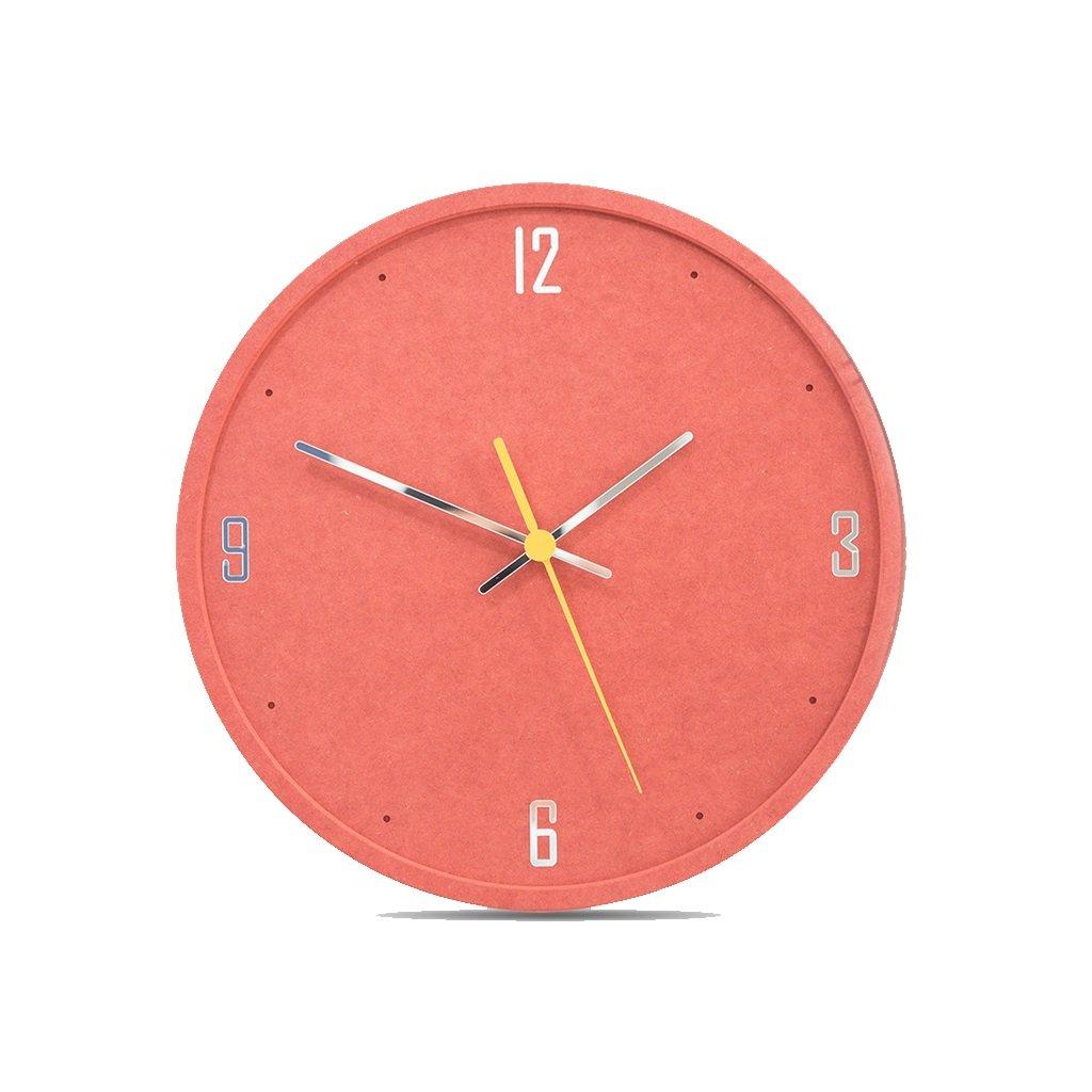 LINGZHIGAN 12インチウォールクロックファッショントレンドクリエイティブ壁掛け時計モダンなベッドルームホームクォーツ時計ミュートピュアカラー (色 : Red) B07FDY9SNL