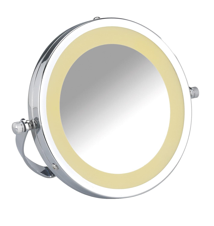 Wenko 3656350100 Specchio di Cosmetica LED Brolo, Acciaio, Vetro, 18,5 x 16 x 4 cm, Cromo