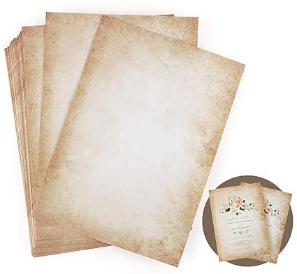 LATERN 50 Hojas Papel de escribir Vintage, A4 Formato impreso a doble cara DIN A4 100gsm Papel viejo Papelería Vintage para escritura e impresión ...